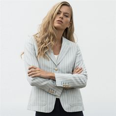 Blue & White Striped Alicia Patch Pocket Blazer Seasonal collections from Linen Cloth, Donegal, Spring Summer 2018, Tweed Jacket, Trouser, Ireland, Cashmere, Women Wear, Blue And White