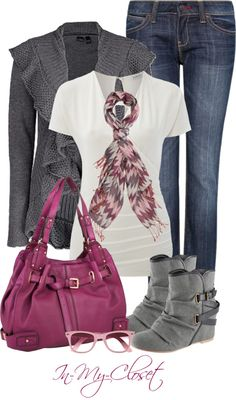 Gray Ruffle Sweater & Low Buckle Boots. White top. Blue Jeans. Dark Pink Purse. Pink Print Scarf.