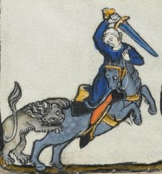 end of the 13th century France  Lausanne, Bibliothèque Cantonale et Universitaire  U 964 - Biblia Porta  fol. 451r - a snacking lion, a horse being snacked on, a brave rider in a coif