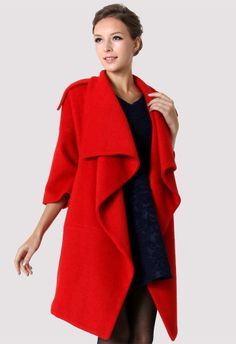 #chicwish  Chicwish Drape Red Cape - Outers - Retro, Indie and Unique Fashion