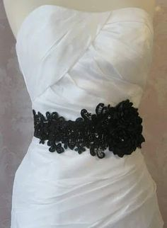 Black Bridal Sash, Wedding Belt with Handmade Flowers, Rhinestones and Beaded Lace - NOIRE on Etsy Wedding Belts, Wedding Sash, Bridal Sash, Wedding Pics, Purple Wedding, Dream Wedding, Wedding Ideas, Trendy Wedding, Dress Sash
