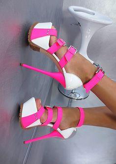 sky high hot pink/white platform sandals <3