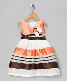 Look at this Lele for Kids Orange Stripe Bow Dress - Toddler & Girls on #zulily today!