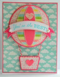 EarthyScrap: Peachy Keen Stamps Challenge!! Just Cards: Popped Up!!- Hot air Balloon made with ovals and circles. #scrapbooking