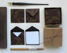 Brown with Golden Dots - Mini Stationery Set on Etsy, 9,76 €