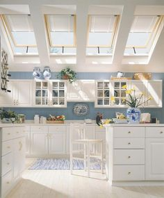Every kitchen should have sunlights!  love the blue & white vases and Cape Cod blue accents