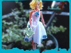 Puppenkleidung -     Blumenkleid mit  Handtasche - ein Designerstück von Sabisilke bei DaWanda