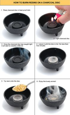 I occasionally get requests on how to use a charcoal disc for burning incense.  Personally, I use tongs(those used in chemistry is the best)  to hold the disc up next to a candle flame.