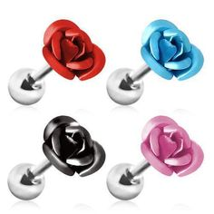 Surgical Steel Metallic Rose Cartilage Earring- Surgical Steel Metallic Rose Cartilage Earring These roses would look as sweet on your cartilage, tragus or conch. Piercing Oreille Cartilage, Cute Cartilage Earrings, Helix Piercing Jewelry, Conch Jewelry, Piercing Cartilage, Barbell Earrings, Cartilage Jewelry, Big Earrings, Circle Earrings