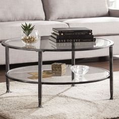 Tanner Round Coffee Table Matte Iron Bronze finish
