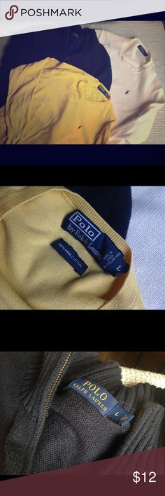 long sleeve Polo pullover sweater bundle of three long sleeve Polo pullover sweater shirts in solid color dandelion yellow (L), navy (L), and cream (M) slightly lighter section on collar. Polo horse embroidered on each. Polo by Ralph Lauren Sweaters Crewneck