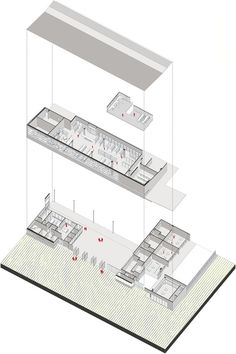 Primeiro Lugar no Concurso Público para o projeto de colégios em Bogotá,Isométrica de biblioteca y administración. Image Courtesy of FP – oficina de arquitectura + Arq. Camilo Foronda