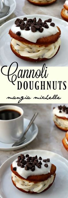 Cannoli doughnuts give you the best of breakfast and dessert. A moist doughnut filled with decadent cannoli cream is a dream come true ~ www.mangiamichell...