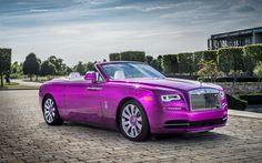Descargar fondos de pantalla 4k, Rolls-Royce Amanecer de 2017, los coches, Fuccia color, rosa Rolls-Royce, coches de lujo, Rolls-Royce
