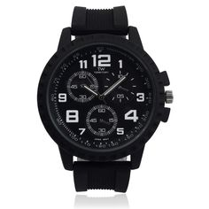 Territory Men's Silicone Rhinestone Time Zones Watch | Overstock.com Shopping - The Best Deals on More Brands Men's Watches