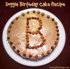 Doggie Birthday Cake Recipe: Celebrate your furry friend's birthday with this super easy and inexpensive Doggie Peanut Butter Carrot Cake!