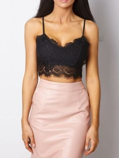 Shop Black Crochet Lace Scallop Hem Cami Top from choies.com .Free shipping Worldwide.$9.9