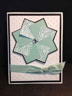 """My Creative Corner!: Faux Pinwheel Stamping Technique...Today's card comes from you via Terri's last Stamping Technique Night. These are very fun and easy to do. To make this you need to cut 2 squares of card stock measuring 2-5/8"""" x 2-5/8"""".  Cut 8 squares (4 of each of two contrasting papers) 1-1/4""""."""