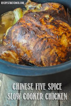 Chinese 5 Spice Chicken Recipes Says: I was intrigued by this unique spin on my traditional favorite of cooking a whole chicken in the slow cooker until it is fall off the bone tender - May 11 2019 at Slow Cooker Huhn, Crock Pot Slow Cooker, Slow Cooker Chicken, Slow Cooker Recipes, Crockpot Meals, Asian Recipes, Real Food Recipes, Chicken Recipes, Chinese Recipes