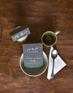 place setting and menu by molly jacques