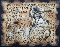 Bruja de ocultismo y desplazamiento Magick en página Cthulhu larp demonio serpiente Necronomicon