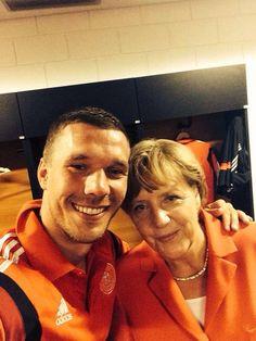 Lukas Podolski & Angela Merkel