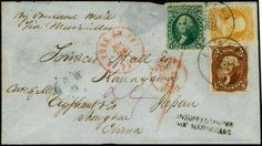 """United States 1862: 1861 / 62, 10¢ green, 5¢ red brown and 30¢ orange, all tied by rolled gold circle Elmira NY town markings on cover addressed to Kanagawa Japan sent """"Care of fair. Olyphant & Co., Shanghae China; manuscript """"By overland mail via Marseilles at upper left and """"INSUFFy STAMPED VIA MARSEILLES at lower right; red NY at the. Pkt. And London transit marks at center, dark blue 1862 Hong Kong backstamp; very small piece out of top edge of cover and small part of backflap missing…"""
