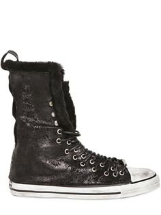 DIONISO - 20MM VINTAGE CALFSKIN SHEARLING SNEAKERS - LUISAVIAROMA - LUXURY SHOPPING WORLDWIDE SHIPPING - FLORENCE