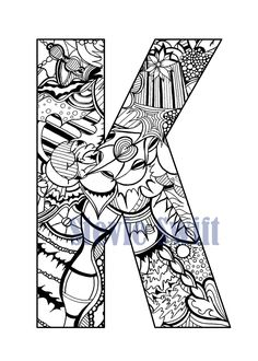 Color Me Doodle Letter-K-Printable K Digital by StevieDoodles Colouring, Adult Coloring, Coloring Books, Coloring Letters, Last Unicorn, You Doodle, Letter K, Doodle Lettering, Unique Wall Art