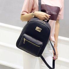Toposhine Fashion Women Backpack For Girls 2016 Backpacks Black Backpacks  Female Fashion Girls Bags Ladies Black cdee80145