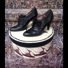 INC Laced Oxford Booties INC black Oxford booties.  The heel is 3 1/2 inches.  In EXCELLENT condition!  Beautiful leather shoes!  Shopped in their original box. INC International Concepts Shoes Heels