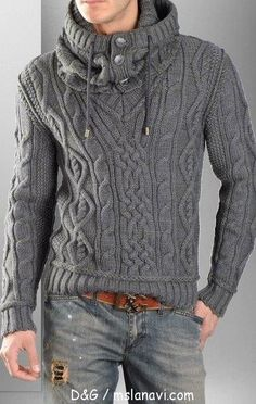 V-neck pull-over, the cowl-hood is detachable - pattern in russian with charts - мужской пуловер