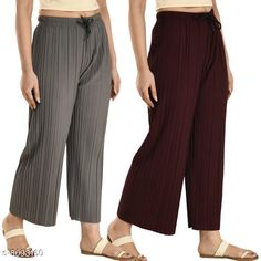 Palazzos Women's Solid Pack of 2 Palazzo Combo Fabric: Polyester Pattern: Solid Multipack: 2 Sizes:  Free Size (Waist Size: 30 in Length Size: 37 in Hip Size: 46 in) Country of Origin: India Sizes Available: Free Size, 28, 30, 32, 34, 36, 38, 40   Catalog Rating: ★4.1 (5009)  Catalog Name: Fancy Fashionista Women Palazzos CatalogID_1341201 C79-SC1039 Code: 544-8093160-999