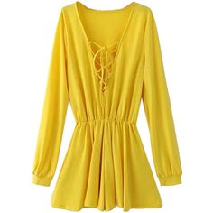 Yellow Plunge Lattice Lace Up Blouson Sleeves Romper Playsuit ($26) ❤ liked on Polyvore featuring jumpsuits, rompers, cotton rompers, long-sleeve rompers, long-sleeve romper, cotton romper and playsuit romper