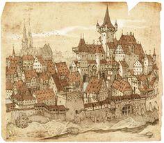 Back Cover Illustration for Medieval stories, Krone Verlag 2009 Fantasy City, Fantasy Map, Medieval Fantasy, Fantasy Concept Art, Fantasy Artwork, City Drawing, Environment Concept Art, Fantasy Inspiration, Environmental Art