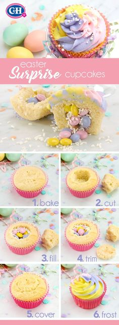 Easter Surprise Cupcakes   Delight your Easter guests with these whimsical pinata cupcakes filled with your favorite candy.