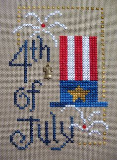 4th of july by kunderwood {stitchy stitcherson}, via Flickr, Kreinik metallics for added firework sparkle