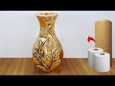 ফুলদানী তৈরি শিখুন //Awesome flower vase make with paper roll New Crafts, Creative Crafts, Diy And Crafts, Plastic Bottle Flowers, Plastic Bottle Crafts, Plastic Bottles, Flower Vase Making, Flower Vases, Peacock Wall Art