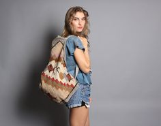 oversized vintage woven cotton ethnic festival sized backpack #festivalstyle #backpack
