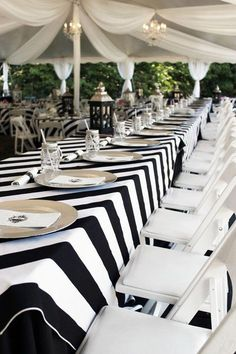 Black and White Striped Tablecloth 1 DAY FREESHIP Kate Spade Striped tablecloth bridal shower Sweet 16 Derby BBQ party Quinceaneras black & white party ideas White Table Settings, White Tables, Grey Table, Black Table, Black White Parties, Black Party, White Napkins, Black And White Tablecloth, Banquet Tables
