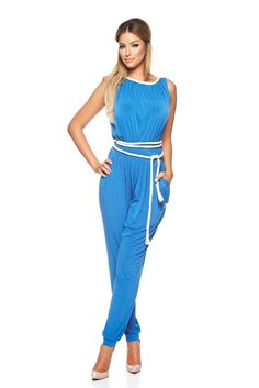 Salopeta Daniella Cristea Chic Diva Blue. Salopeta lunga Daniella Cristea, dintr-un material moale si racoros, accesorizata cu un cordon…