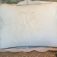 A precious monogrammed boudoir pillow fresh off the monogramming machine at SOUTH!