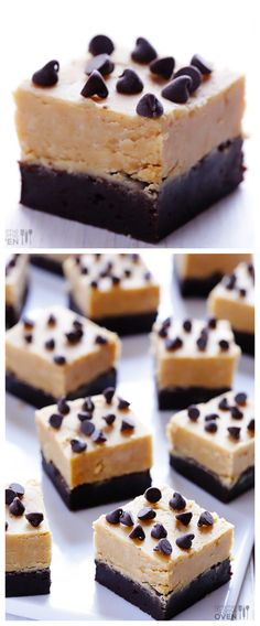 Peanut Butter Fudge Brownies -- delicious chocolate brownies on the bottom, easy peanut butter fudge on top | gimmesomeoven.com #dessert