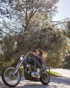 Rider Girl on Harley-Davidson Custom #harleydavidsonchoppersvintage