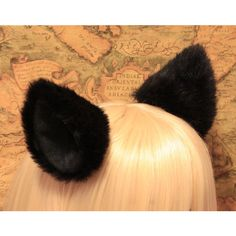 Promotion New 10 cm BLACK long Fur inner BLACK Cat Ear cat ear clip w... ($5.87) ❤ liked on Polyvore featuring animals