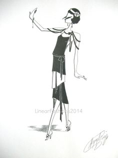Flapper illustration by LinearFashions, $42.00.