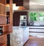 Custom timber joinery and marble kitchen benches - Greenslopes Residence - in association with James Davidson Architect and TWOFOLD STUDIO