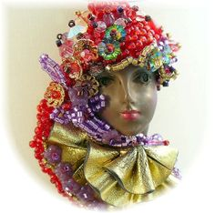 Lady Face Pendant  Ethnic Face Jewelry Hand Beaded by redhatlady