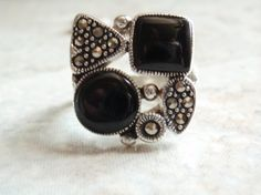 Sterling Silver Marcasite Onyx Geometrical Ring by cutterstone, $54.00