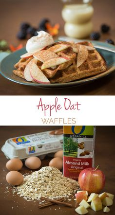 Apple Oat Waffles – Swirls of cinnamon, maple syrup and whipped cream make this the perfect breakfast AND dinner.